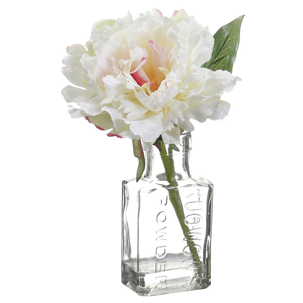 "PEONY IN GLASS VASE, 8"", CREAM"