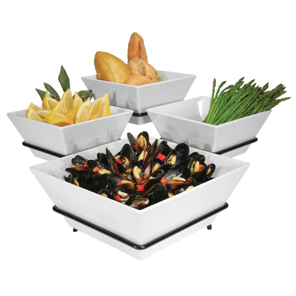 Four Tier Buffet Server Accommodates Multiple Dishes