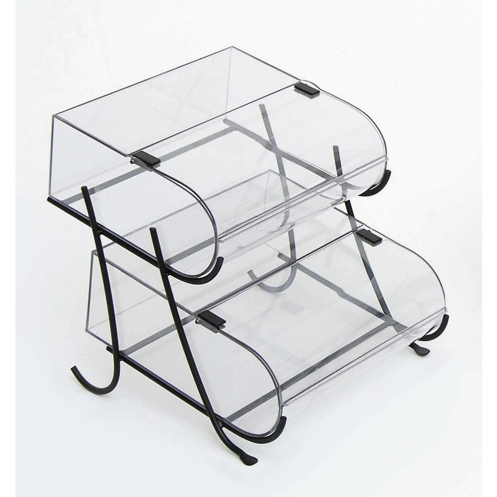 2-Tier Bakery Pastry Display Case with Black Metal Stand