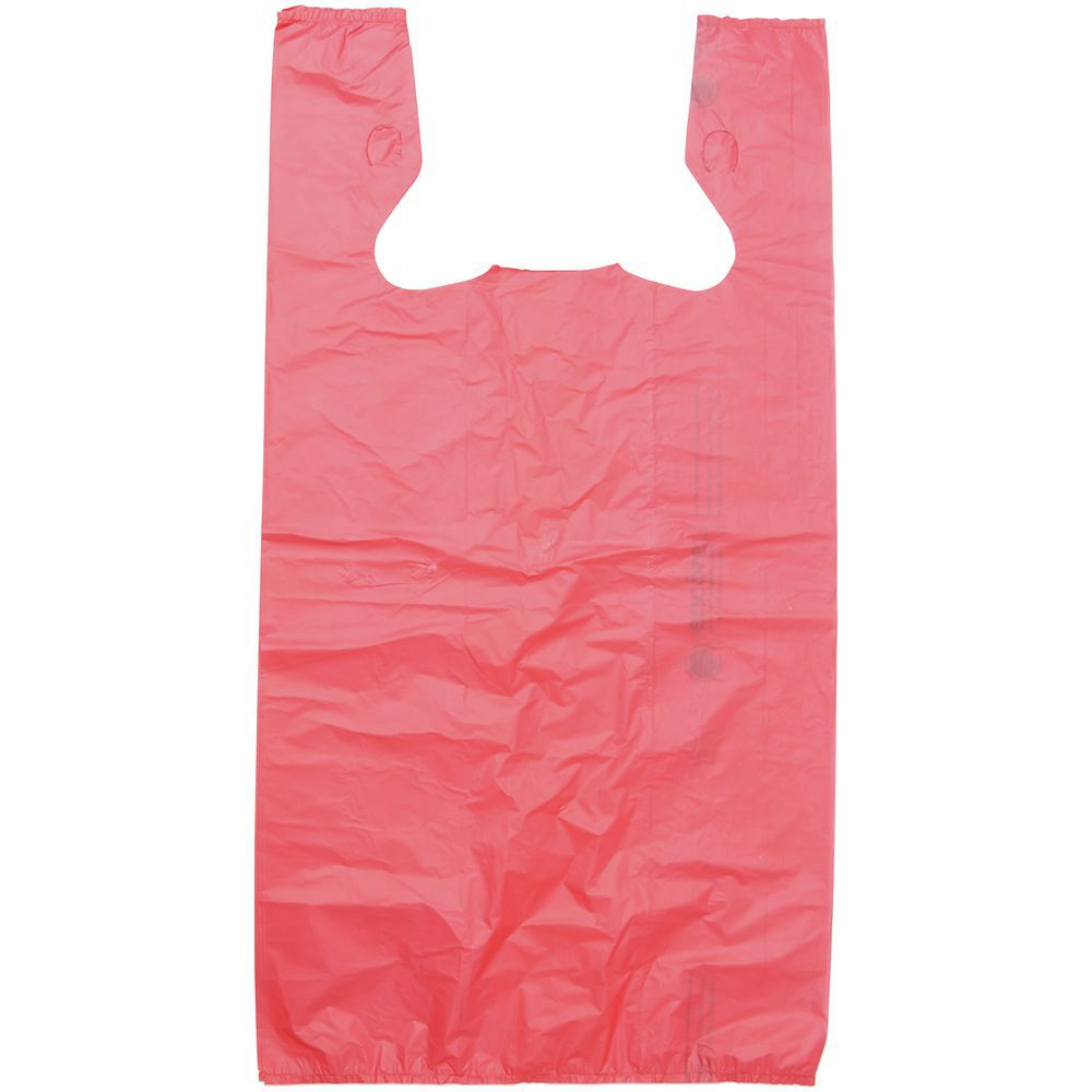 BAG, T-SHIRT, HDPE, .55 MIL, RED