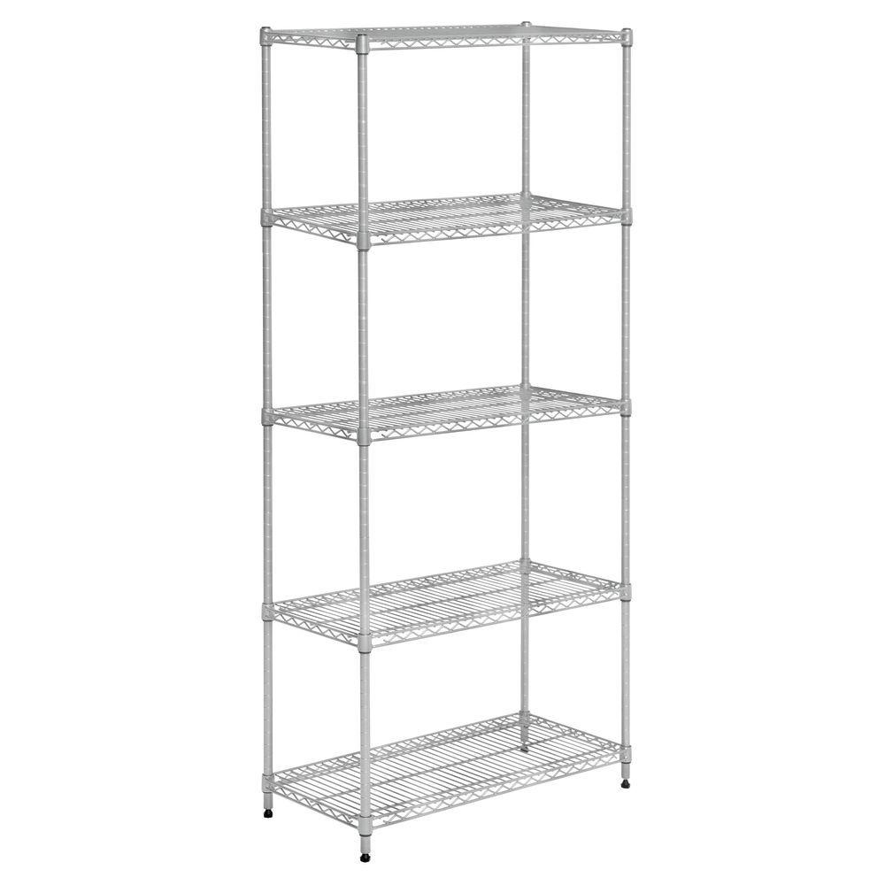 """Hubert Wire Shelf Unit 30""""L x 14""""D x 60""""H Soft Silver 5 Shelf"""
