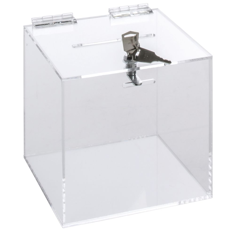 "BALLOT BOX, LOCKING, ACRYLIC, CLEAR, 6""SQ"