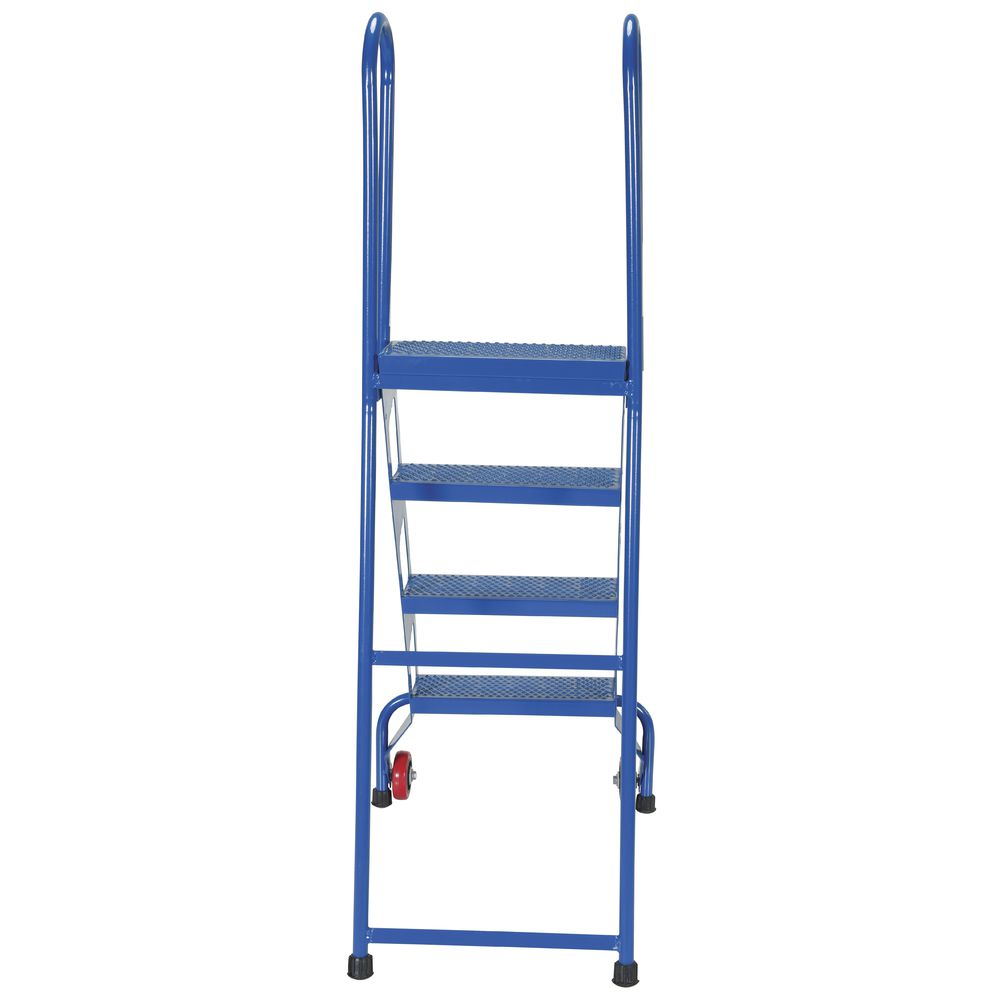 4 Step Blue Steel Folding Ladder With Wheels