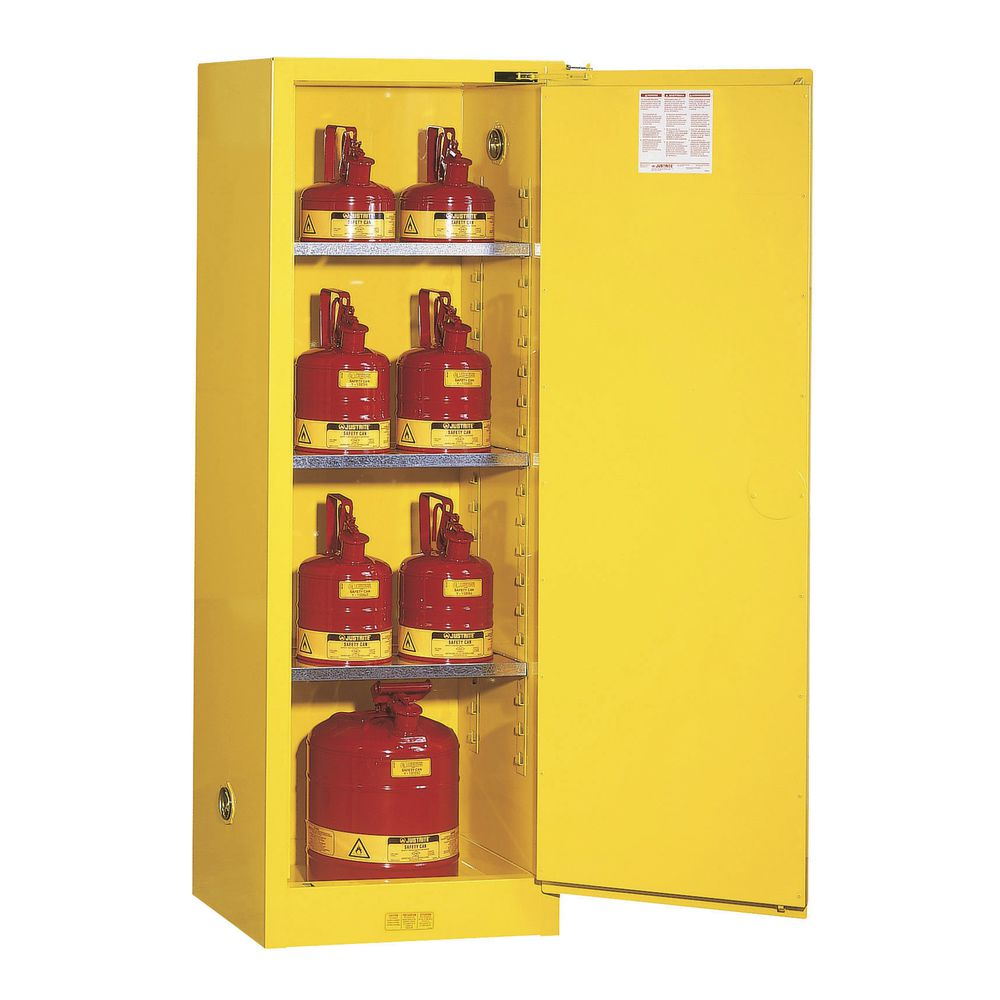 """Justrite Sure-Grip Safety Cabinets Self Close 22-Gallon Capacity in Yellow Steel  23 1/4""""L x 18""""D x 65""""H"""