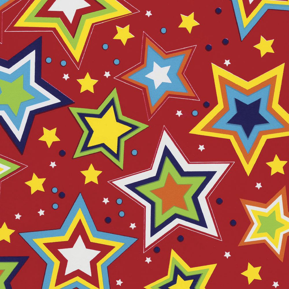 """GIFT WRAP, STARRY RED, QUARTER ROLL, 24""""W"""