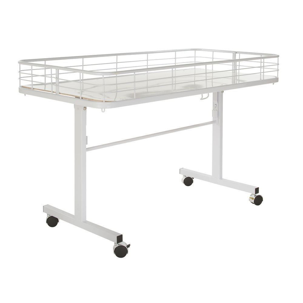 White Folding Table with Wire Fencing