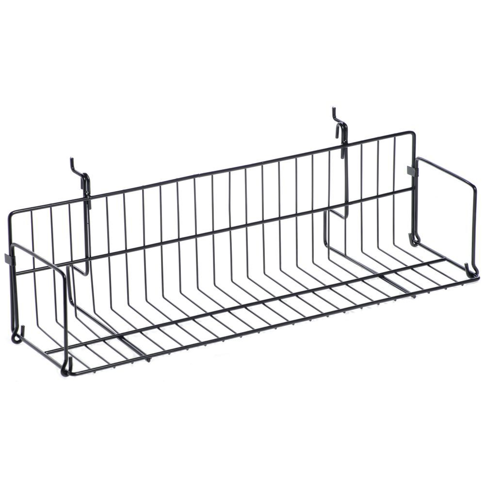 Slatwall Wire Shelves with a Black Exterior