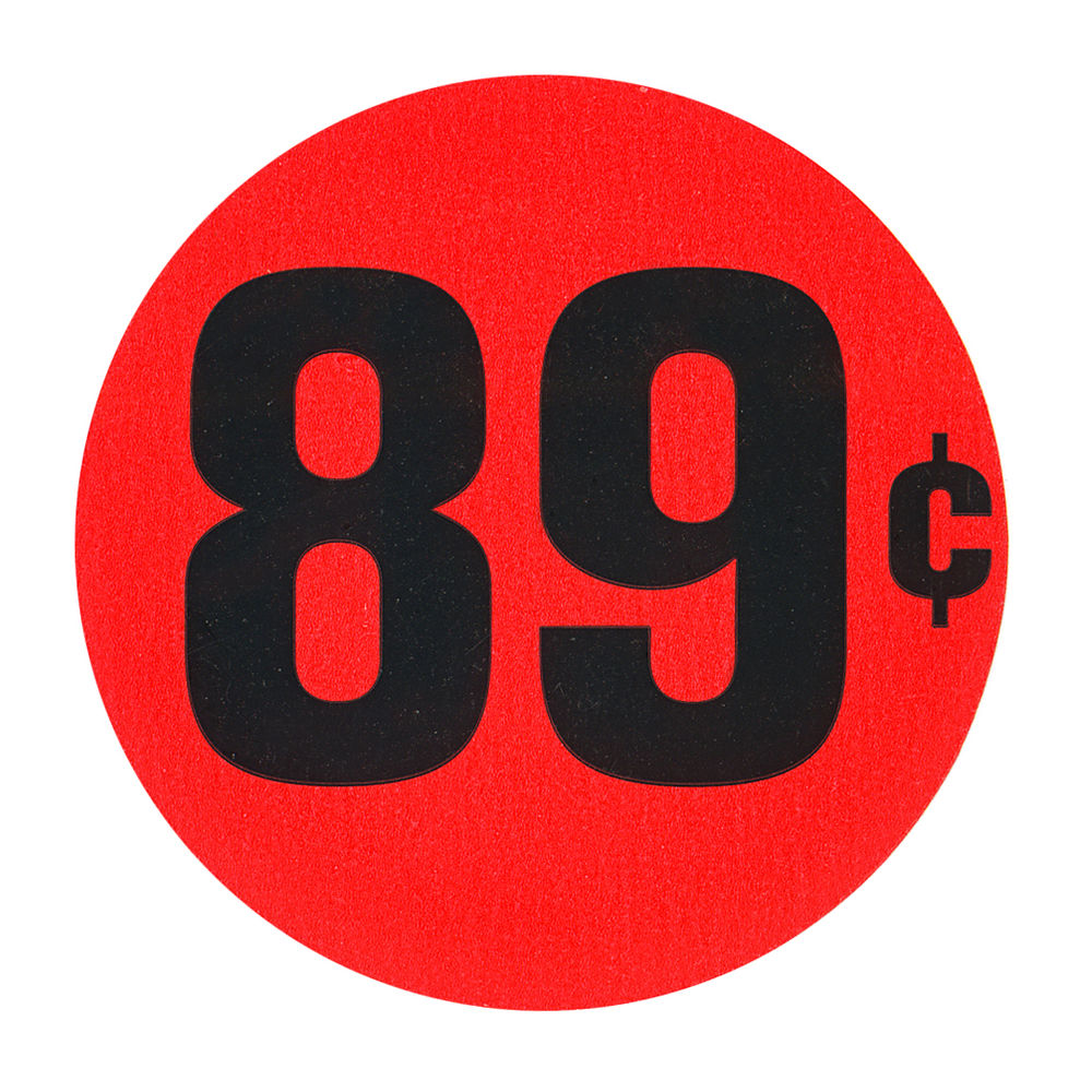 "LABEL, RED FLR, 89 CENTS, 1 1/2"" DIA."