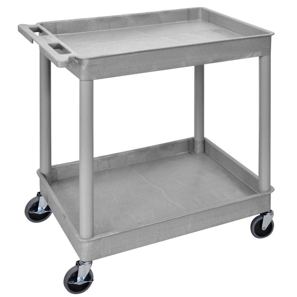 2 Shelf Cart with Lip, 24 x 32, Gray