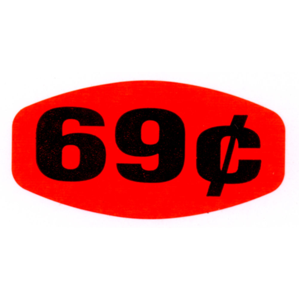 """69¢ Price Point Grabber Grocery Store Labels 1 3/8""""L x 7/8""""H Red With Black Print"""