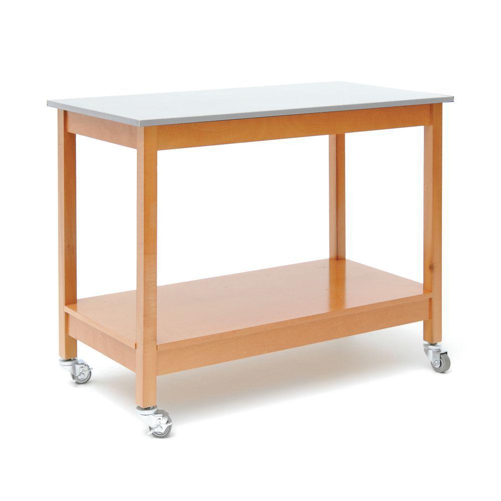TABLE, MOBILE LT OAK BASE, GALV INSET TOP