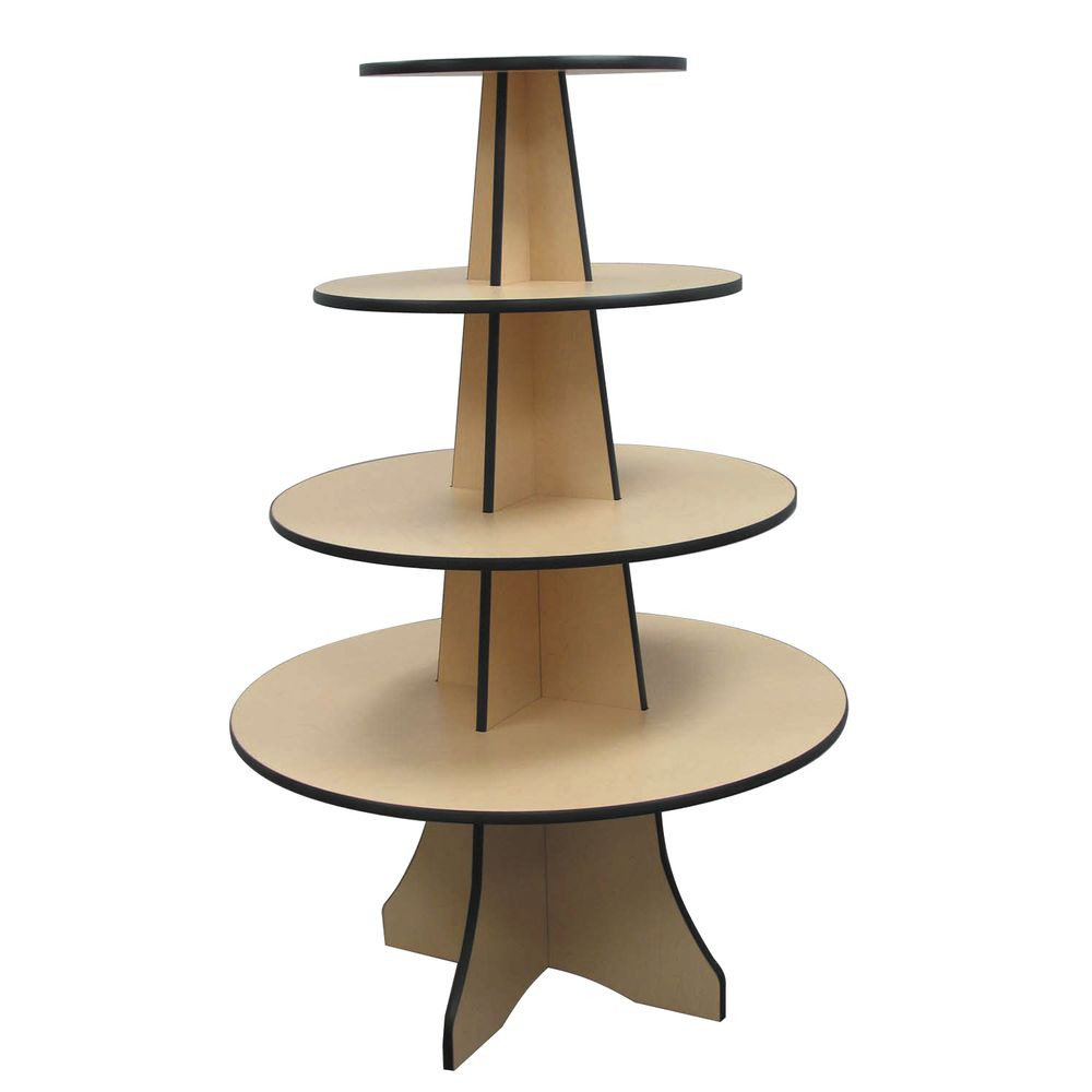DISPLAY, 4-TIER ROUND, 36DIAX54H, MAPLE