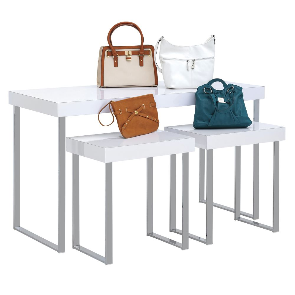 TABLE, WHITE/CHROME, MODERN, LARGE