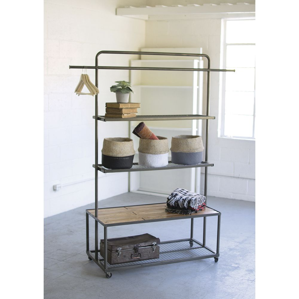 SHELVING UNIT, WIRE MESH/WOOD, 42 X 20 X72