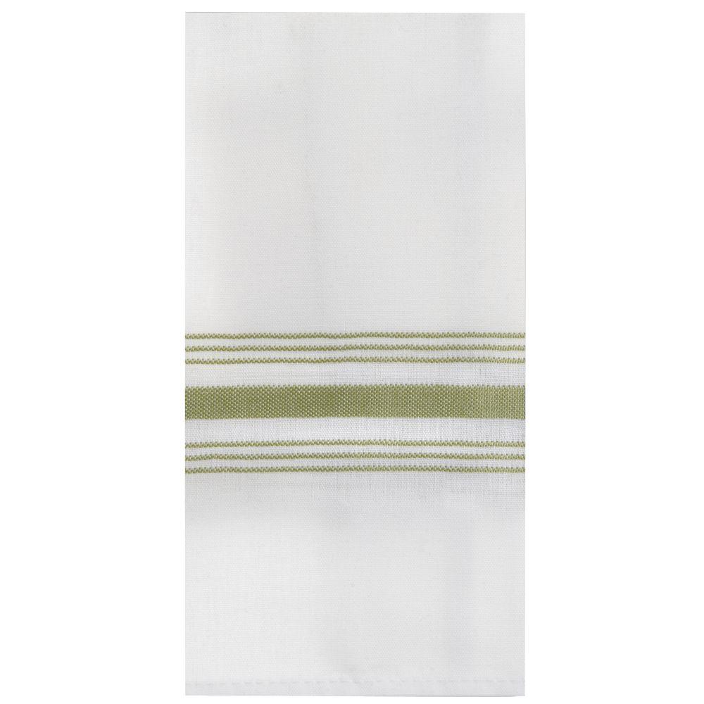 Marko Striped Bistro Napkins 18 x 22 White with Sage Stripe 12/PK