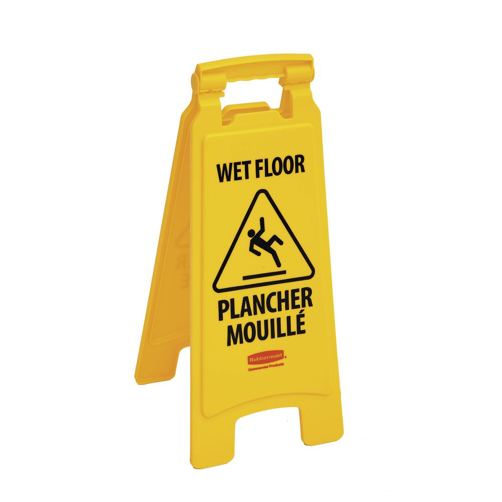 """SIGN, WET FLOOR, FRENCH/ENG, 2-SIDED, 25""""H"""