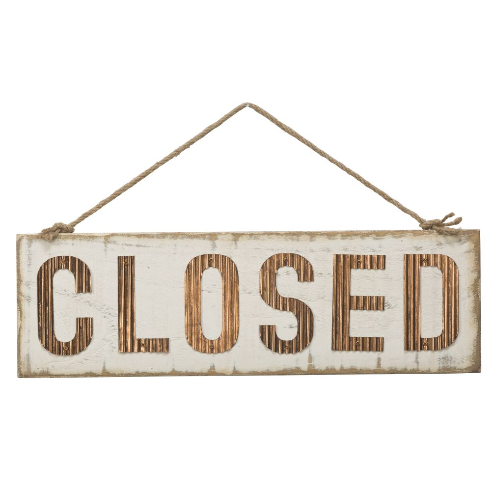 OPEN/CLOSED SIGN, WOOD/MTL, WHITE/ROSEGOLD