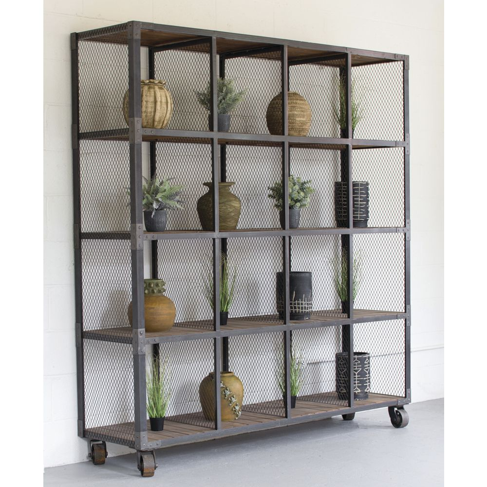 16 Compartment Rolling Shelf Unit