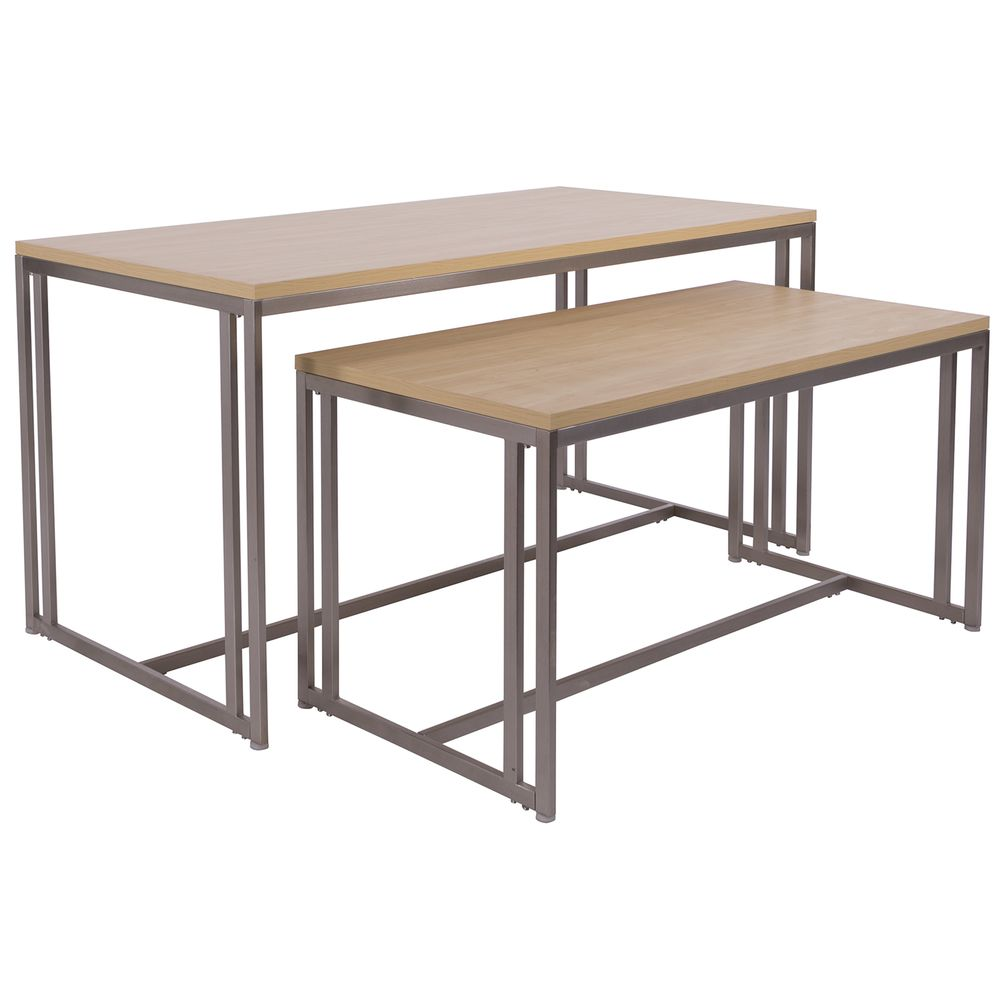 """NESTING TABLE, METAL, W/MAPLE TOP, 60"""""""