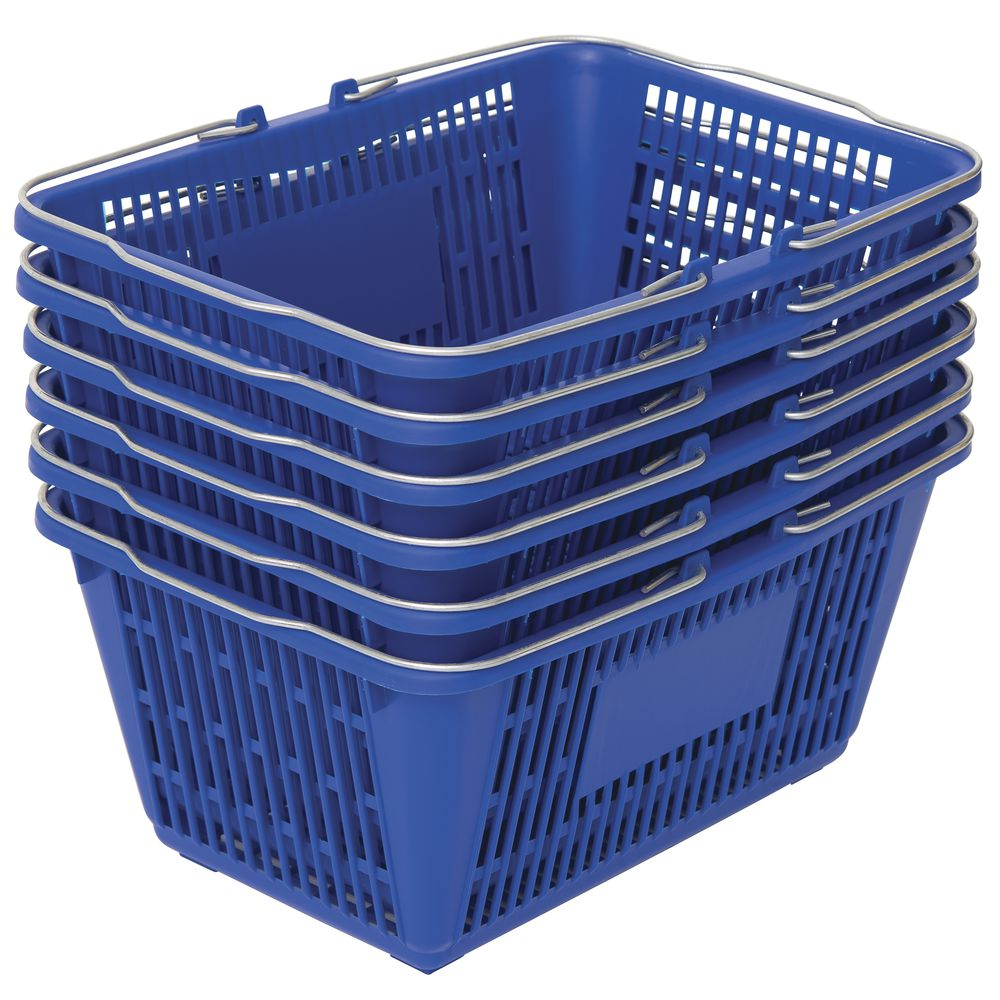 6 Blue Plastic Shopping Baskets