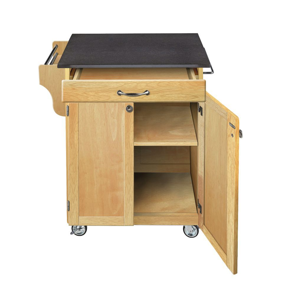 Portable Kitchen Island with Black Granite Top
