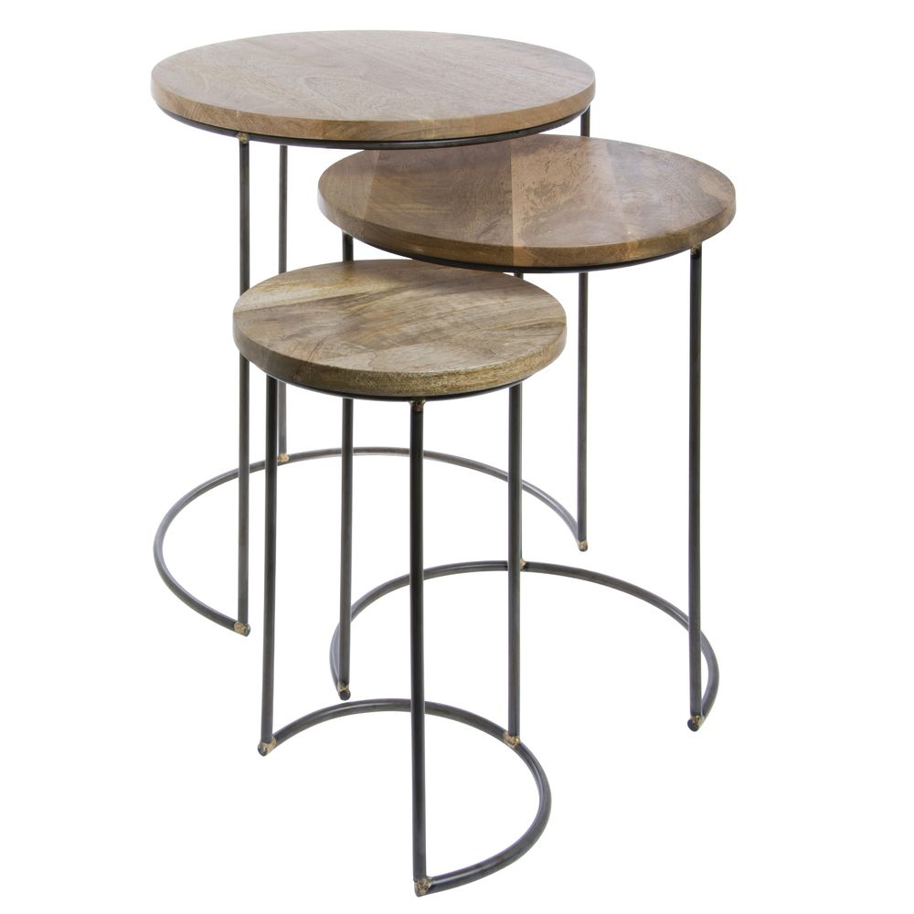 TABLES, NESTING, ROUND, WOOD/METAL, SET3