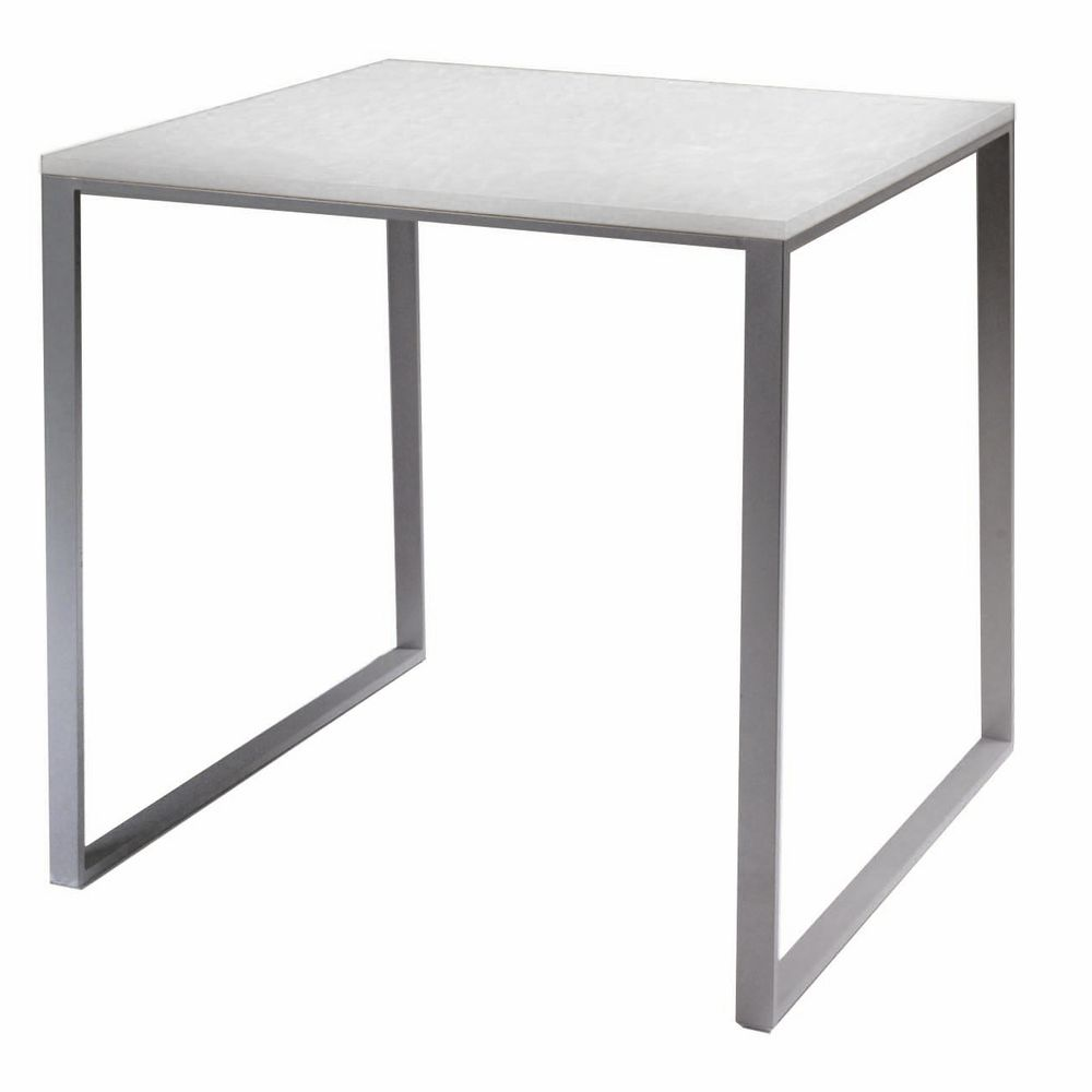 White and Silver Retail Display Table