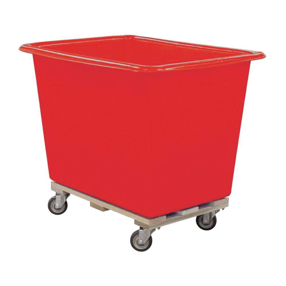 TRUCK, POLY TUB, 6 BU, RED W/SWIVEL CASTERS