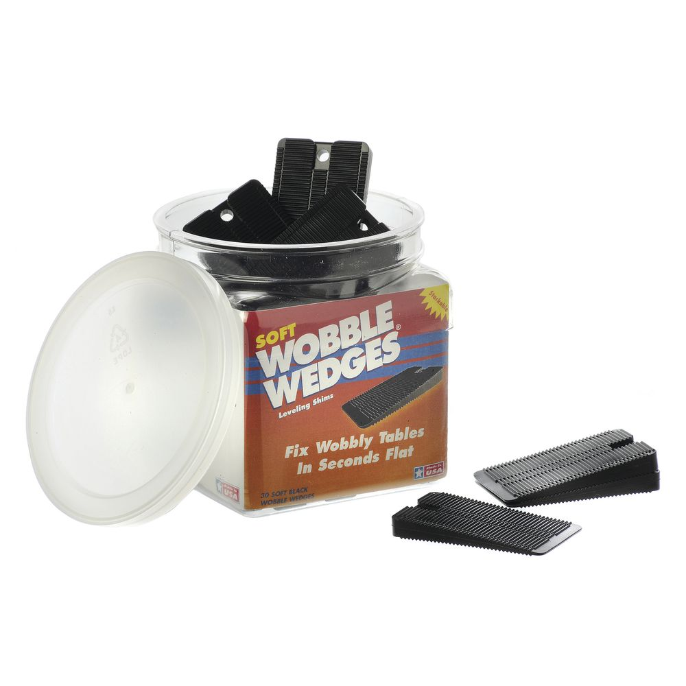 WOBBLE WEDGES, FLEXIBLE BLACK VINYL, 30/CT