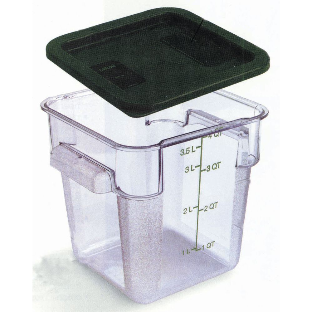 HUBERT® Plastic Food Containers Square 4 qt  Clear