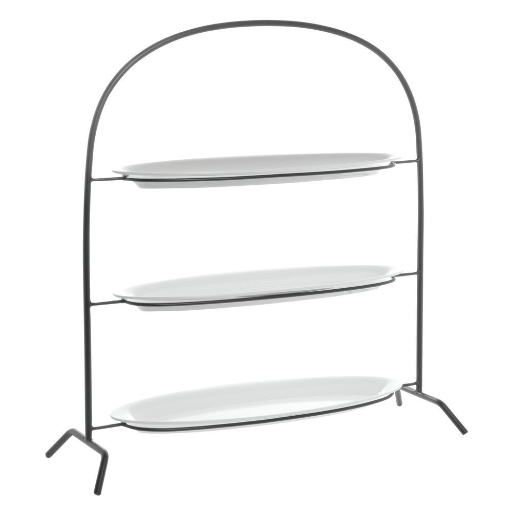 STAND, BLK, 3-TIER, W/3 WHITE PLATTERS