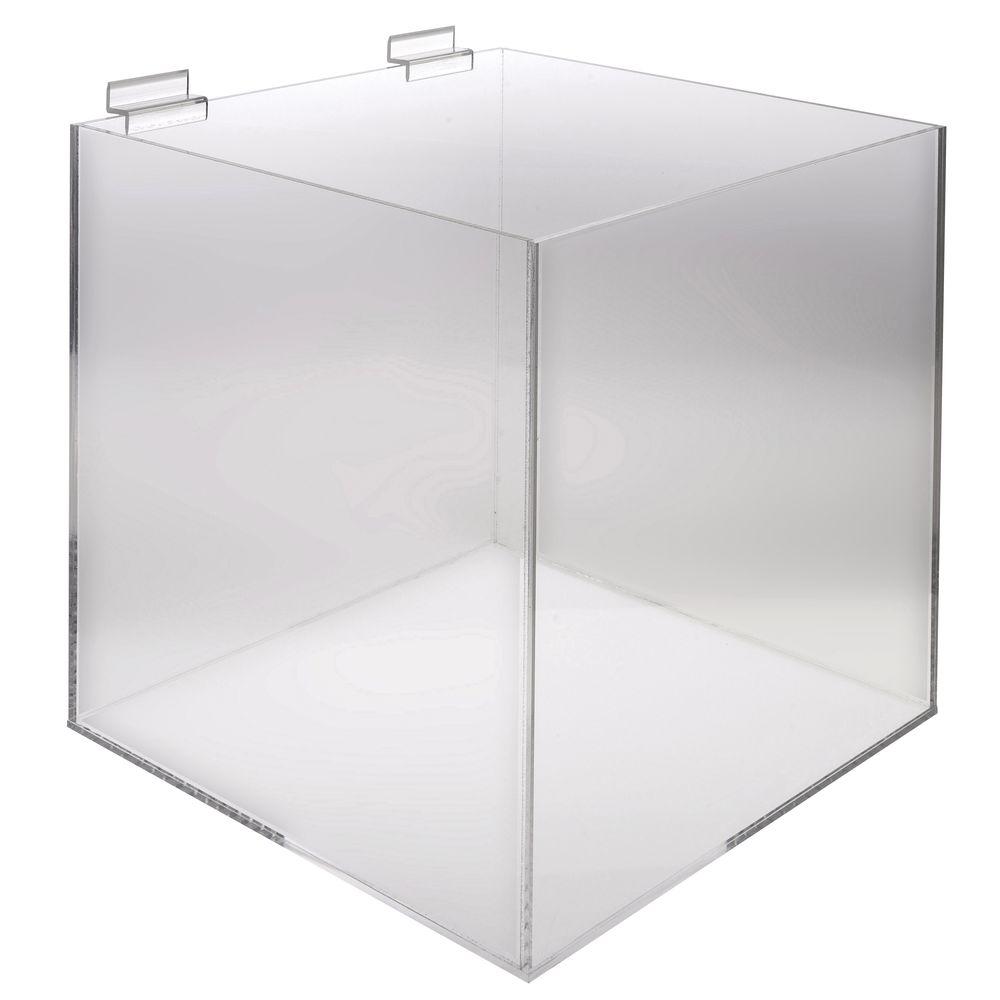 "12"" Square Acrylic Slatwall Bin"