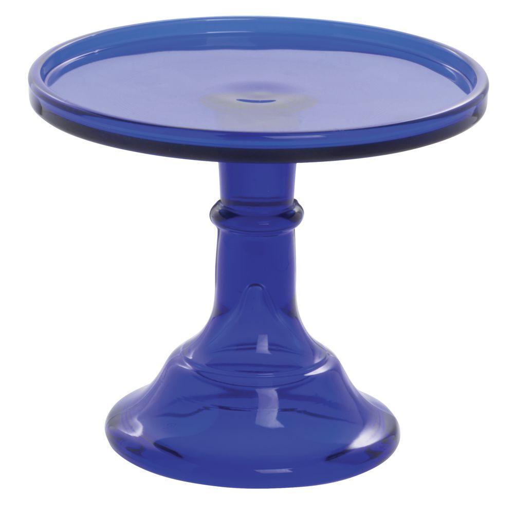 CAKE STAND, GLASS, 6DIA X 5.5H, COBALT BLUE