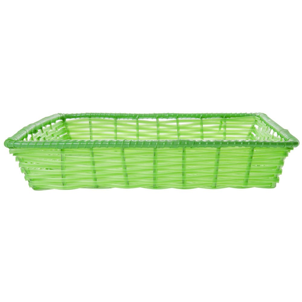 """Green Tri-Cord Washable Wicker Display Basket 18""""L x 18""""W x 3""""D"""