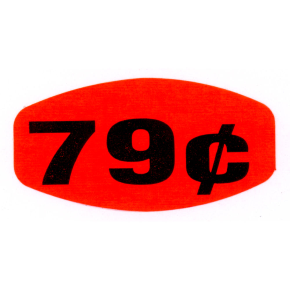 """79¢ Price Point Grabber Grocery Store Labels 1 3/8""""L x 7/8""""H Red With Black Print"""