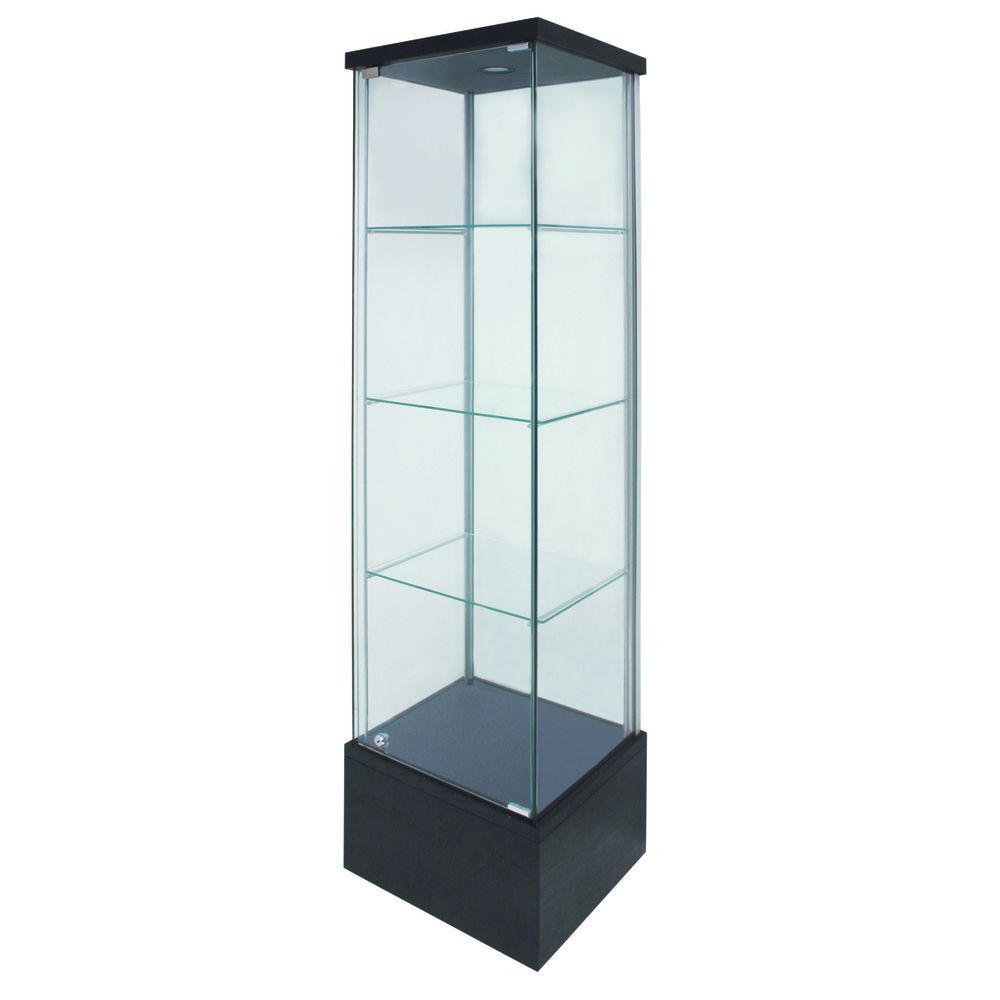 Black-Finish Glass Display Cases