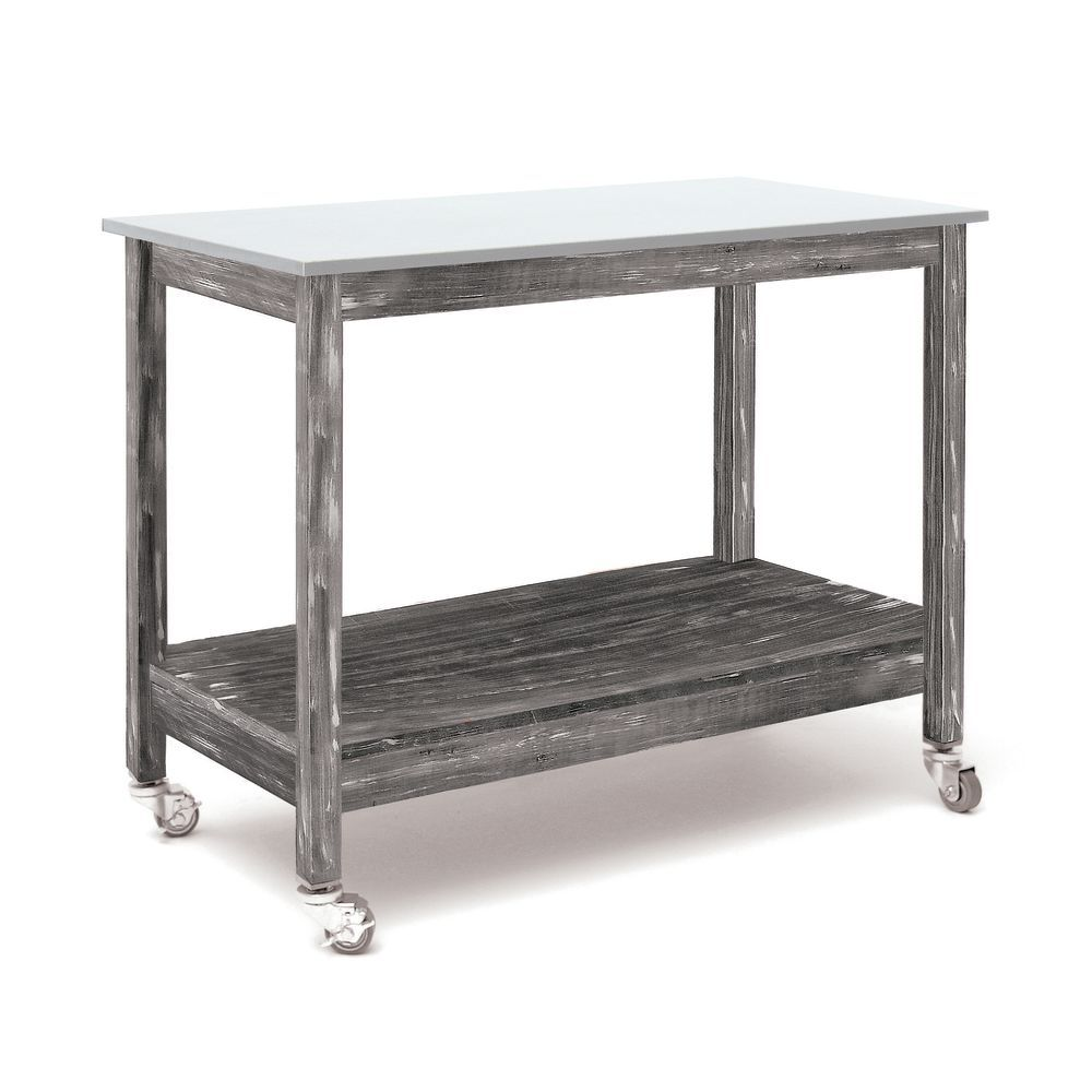 "Rustic Wood Table Grey with Galvanized Inset Top 48""L x 24""W x 37""H"