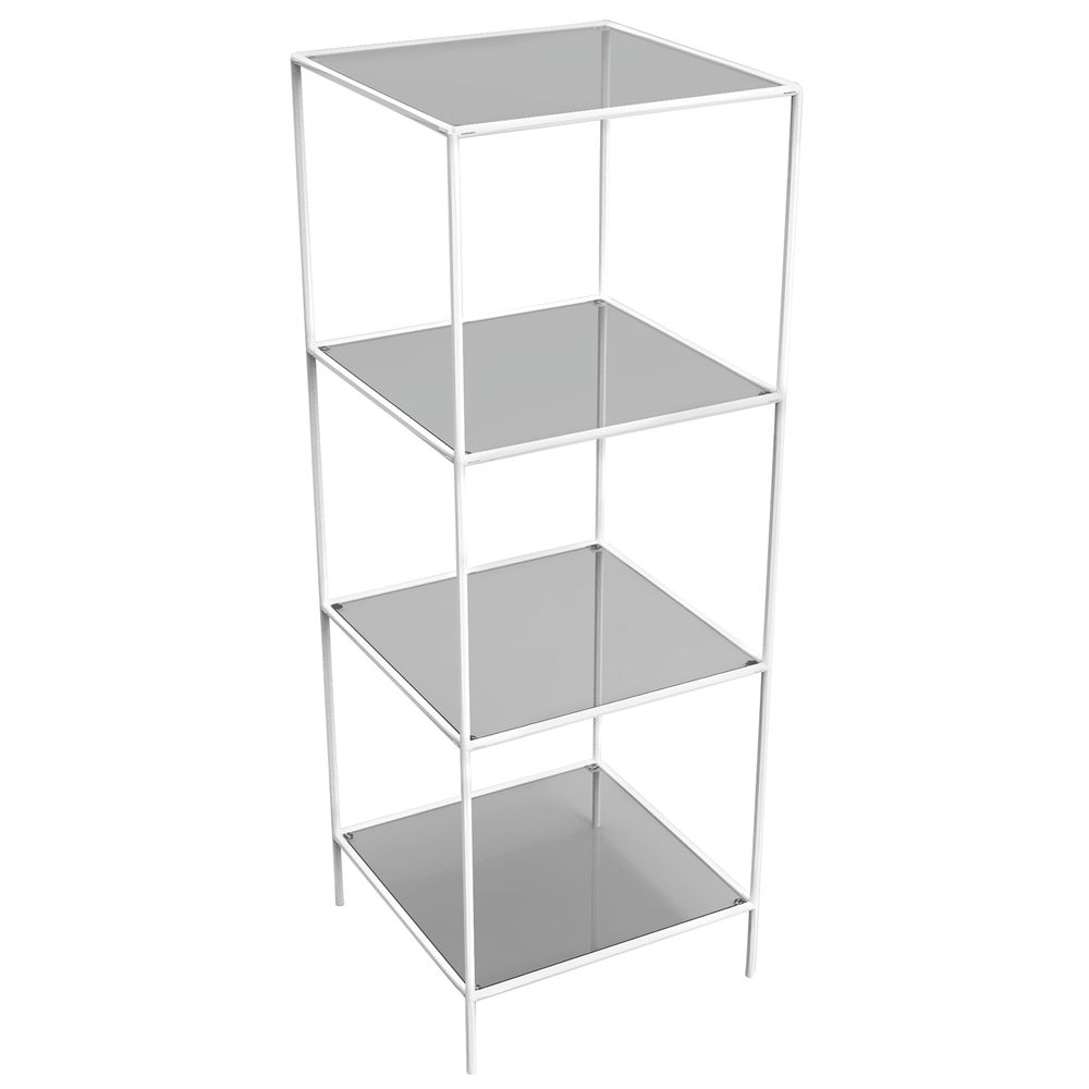 DISPLAY TOWER, 4FIXED SHELVES, WHITE