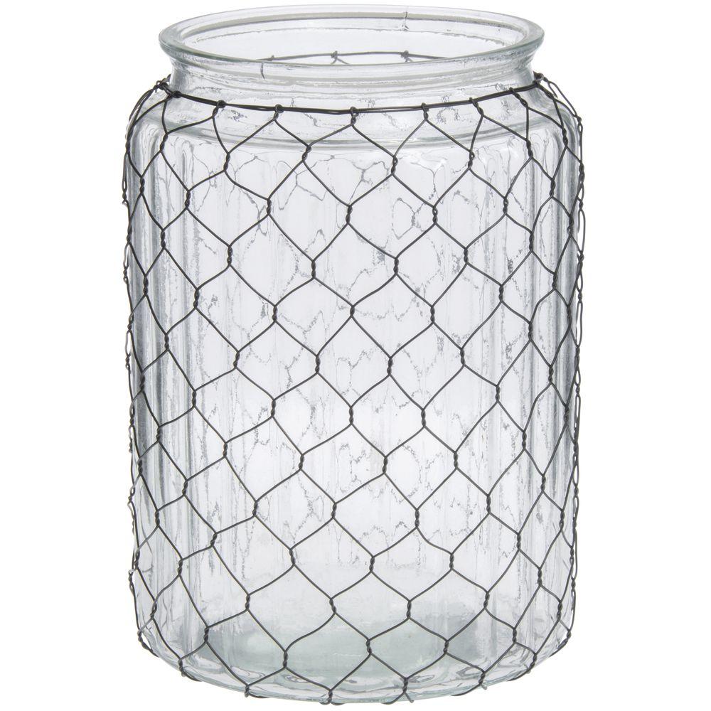 Chicken Wire Glass Vase, 10 1/2H