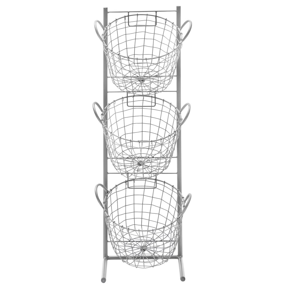"RACK, 3TIER, REMOVABLE BASKETS, METAL, 35""H"