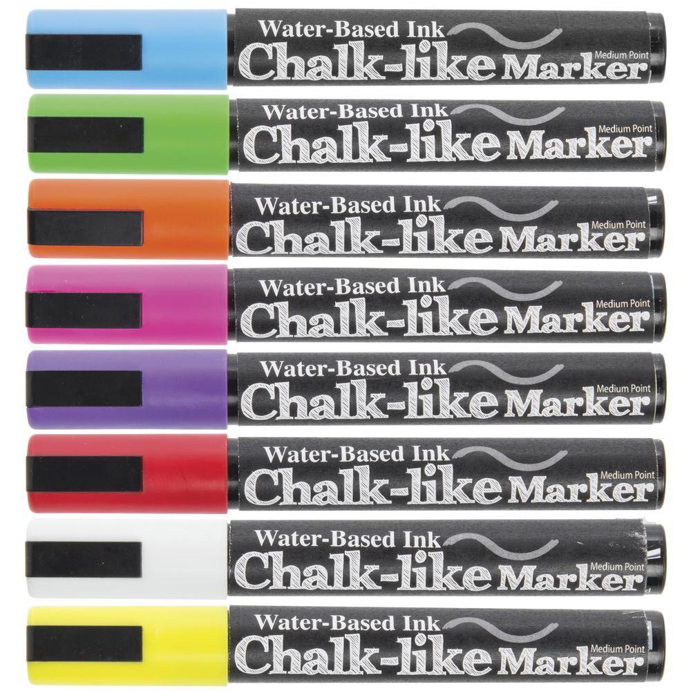 MARKER, CHALK-LIKE, 6MM, COLORS, SET 8