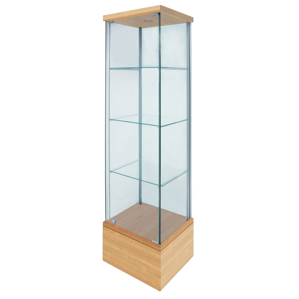 Birch Finish Glass Display Cases