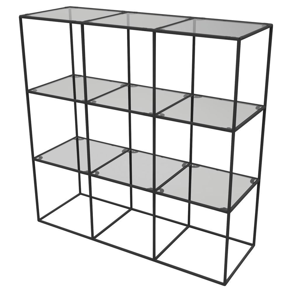 CUBE DISPLAY, 9FIXED SHELVES, BLACK