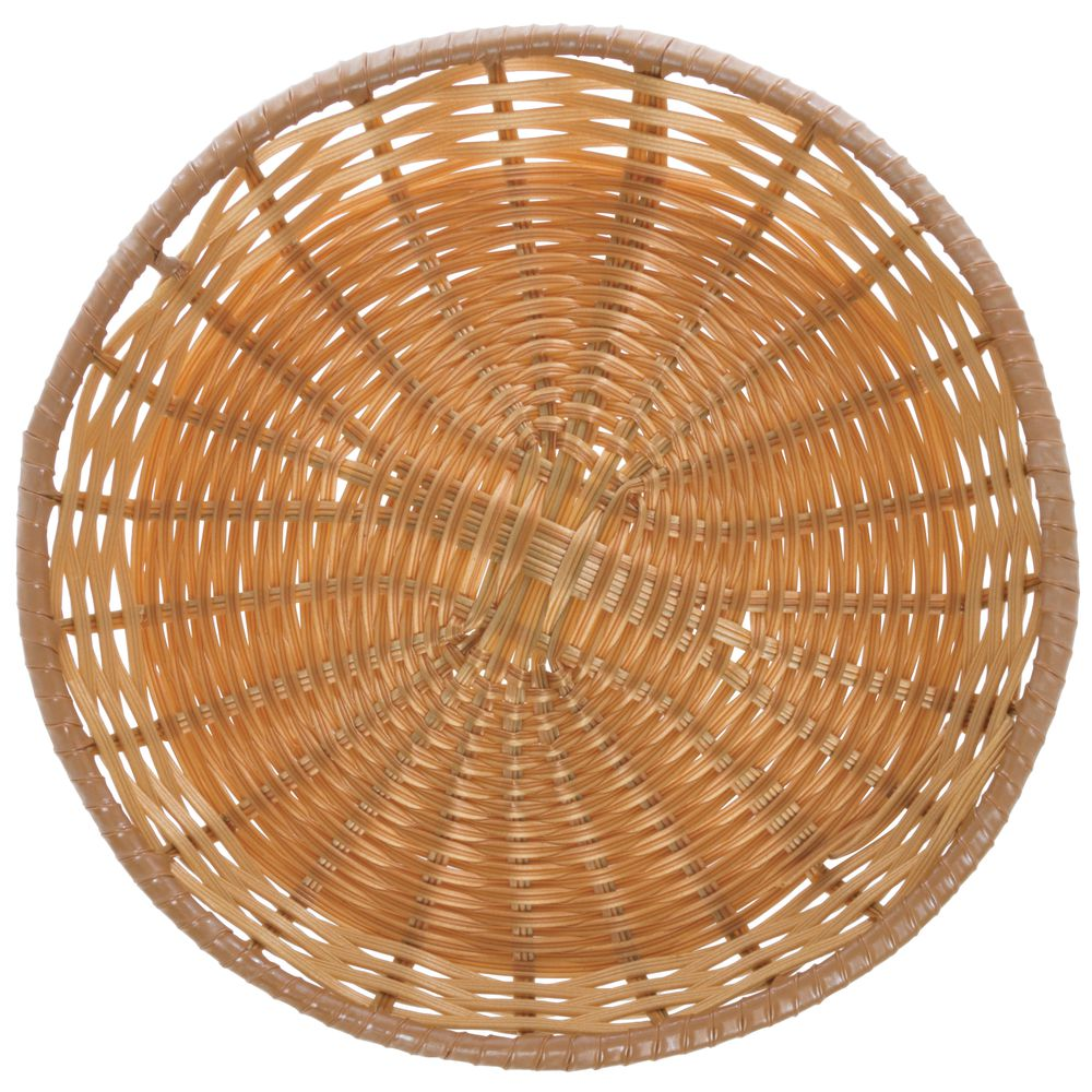 "Tri-Cord Washable Round Wicker Display Basket in Natural Color  14""D  x  2""H"