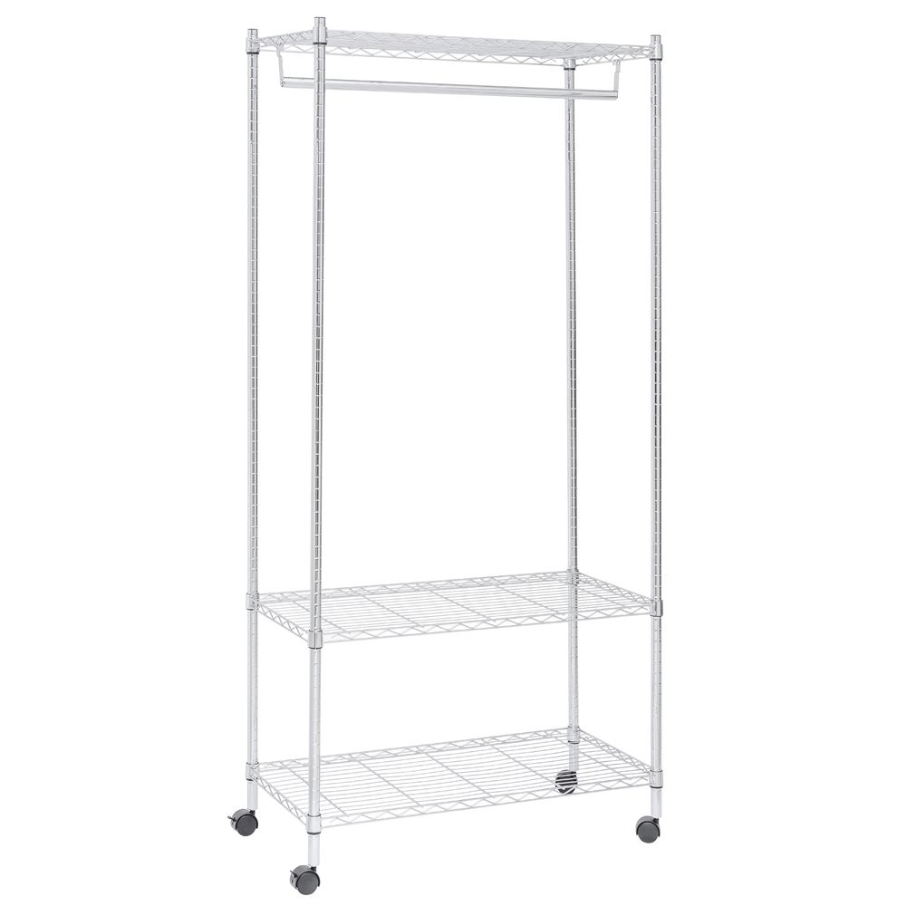 "SHELVES, WIRE, MOBILE, 3TIER, W/HANGROD, 73""H"