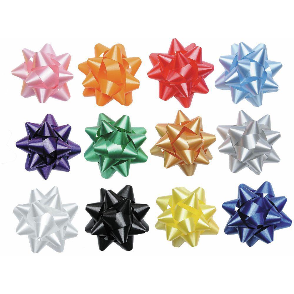 "BOW, STAR, BLACK, 15 LOOP, 3-3/4""DIA"