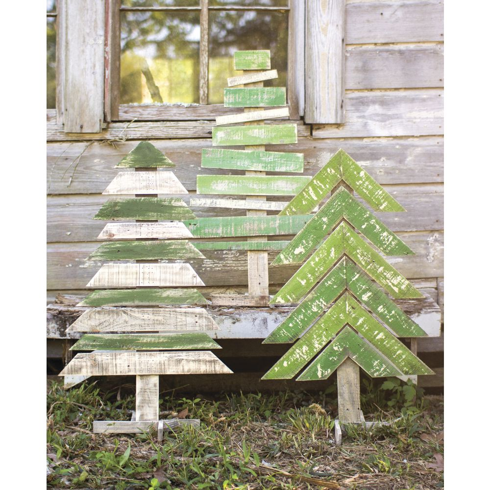 PROP, RECYCLED WOODEN TREES, 3/SET