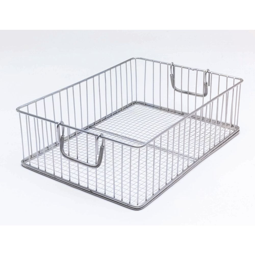 Wire Mesh Basket Has Durable Handles for Transporting