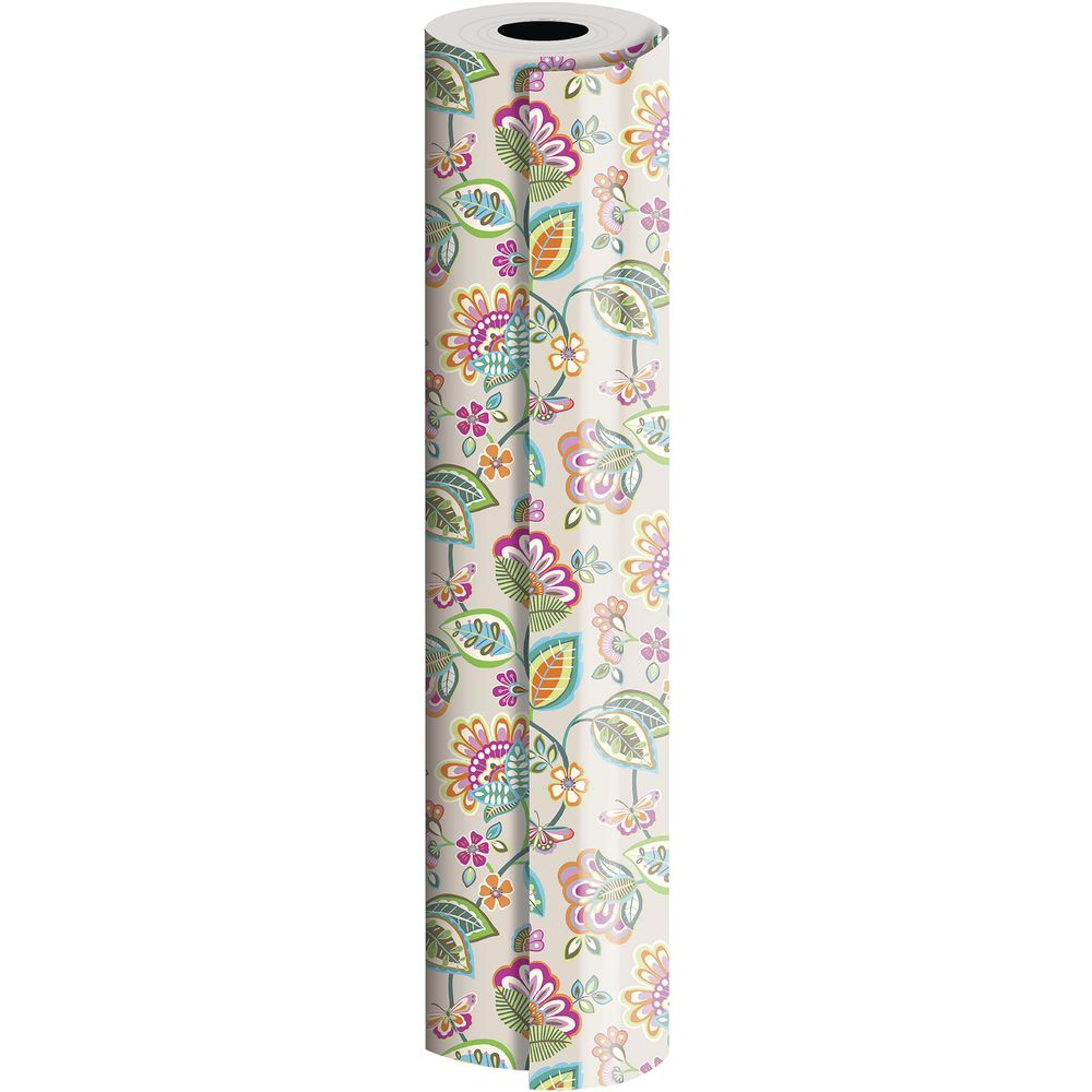 "GIFT WRAP, DECO FLORAL, FULL ROLL, 30""W"
