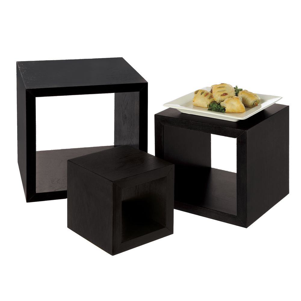 RISERS, CUBE, WOOD, MIDNIGHT, SET OF 3